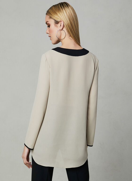 Long Sleeve Contrast Trim Blouse, Off White