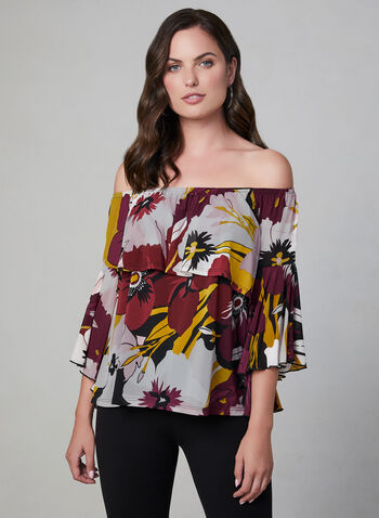 Floral Print Off The Shoulder Top, Orange, hi-res,  romantic blouse, floral print blouse angel sleeves
