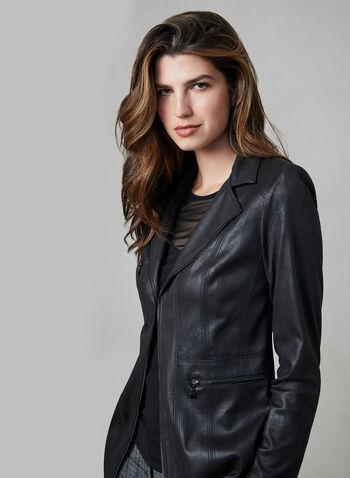 Vex - Veste en faux daim , Noir, hi-res,  veste, faux daim, longue, attache, col cranté, zip, automne hiver 2019