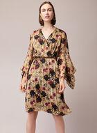 Floral Print Handkerchief Sleeve Dress, Multi