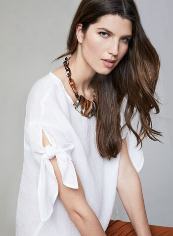 Linen Effect Top, White, hi-res,  Spring 2019, summer 2019, linen-like, short sleeves, tie detail