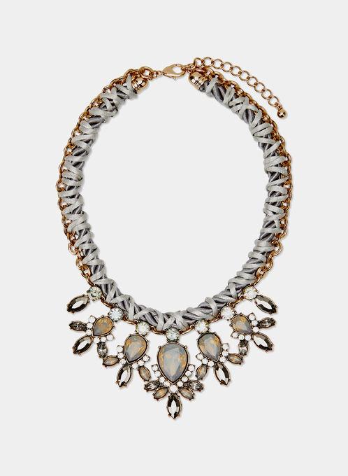 Teardrop Cluster Necklace, Grey, hi-res
