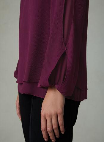 Long Sleeve Cutout Blouse, Red, hi-res