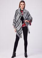 Poncho aspect laine bouclée et franges, Noir, hi-res