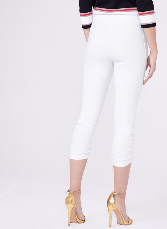Ruched Bengaline Capri Pants, White, hi-res