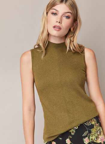 Sleeveless Mock Neck Sweater, Green,  sweater, sleeveless, rib knit, mock neck, spring summer 2020