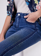Embroidered Crystal Detail Jeans, Blue, hi-res