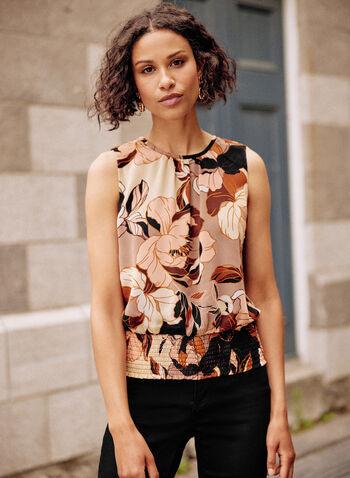 Floral Print Top, Black,  fall winter 2021, tops, no sleeves, flowers, flowery, round neck, smock, muslin,
