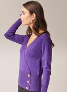 Button Detail V-Neck Sweater, Purple