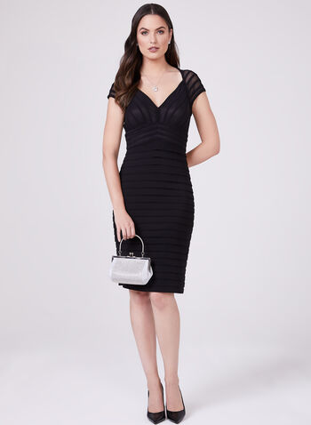 Adrianna Papell - Illusion Sleeve Ribbed Dress, Black, hi-res