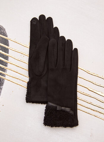 Faux Suede Gloves, Black,  fall winter 2021, accessories, winter accessories, gloves, faux sued, suede, berber, cuff, faux leather, vegan, warm, outerwear, bow