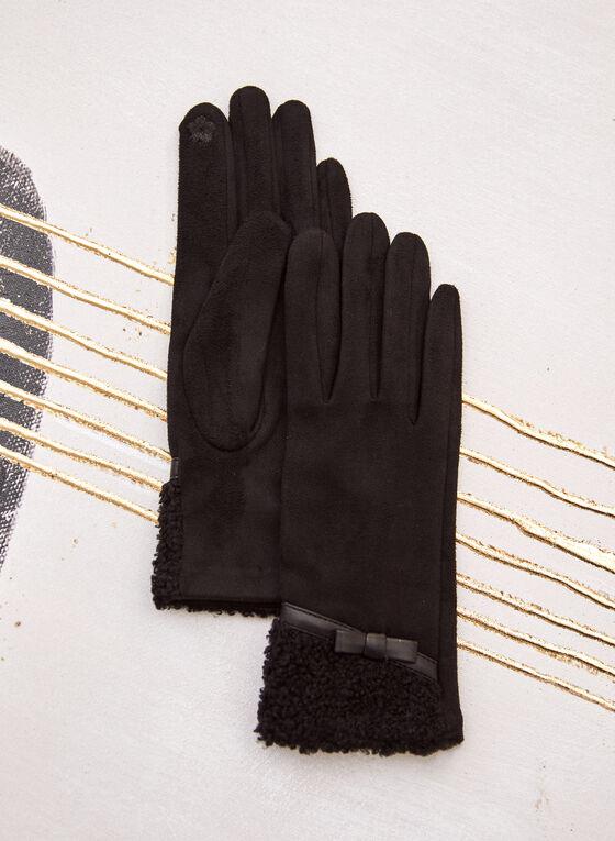 Faux Suede Gloves, Black