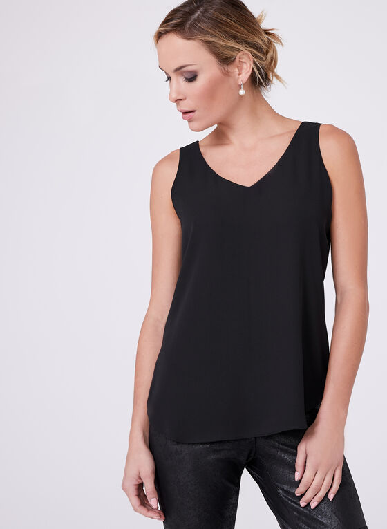 Sleeveless Layered Blouse, Black, hi-res