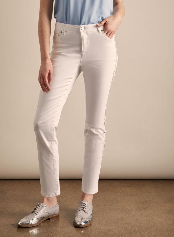 Metallic Stripe Jeans, White