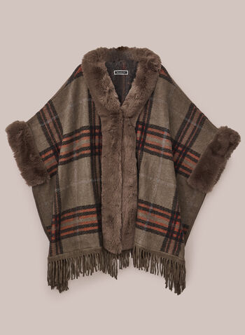Plaid Pattern Poncho, Brown,  poncho, faux fur, plaid, fringe, fall winter 2020