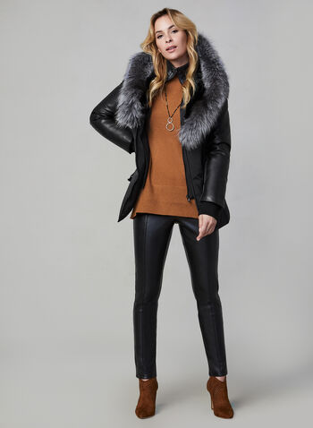 Sicily - Fur & Leather Coat, Black,  coat, quilted, fur, leather, thermal insulation, belt, winter 2019