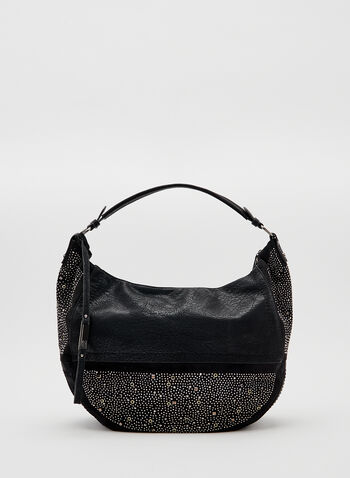 Studded Shoulder Pouch , Black, hi-res