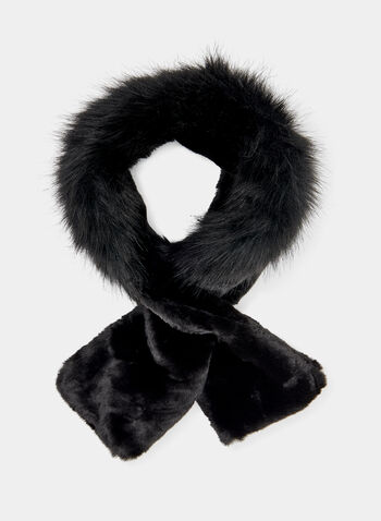 Faux Fur Slip Through Scarf, Black, hi-res