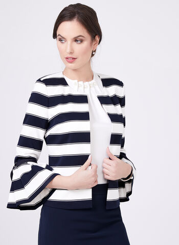 Bell Sleeves Nautical Inspired Blazer , Blue, hi-res