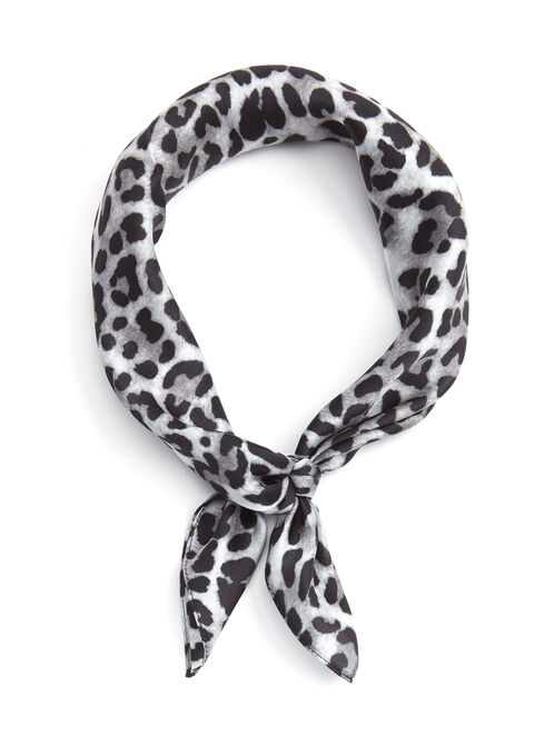 Leopard Print Silk Neckerchief, Black, hi-res