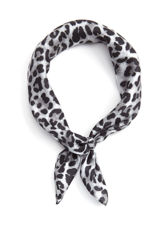 Foulard carré de soie imprimé léopard, Noir, hi-res