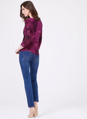 Draped Floral Print Jersey Top, Multi, hi-res