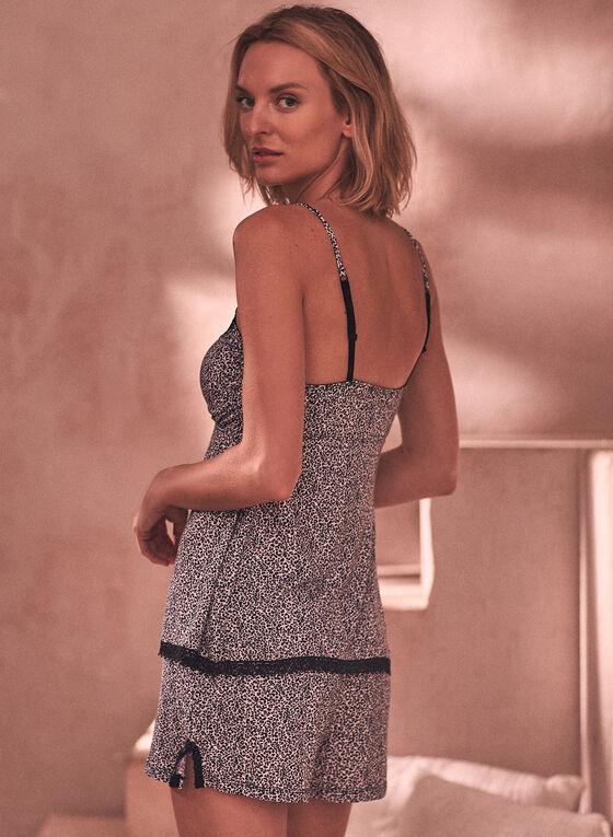 Animal Print Lace Pyjama Set, Black