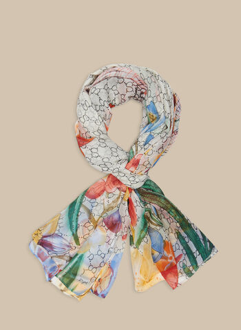 Mixed Print Lightweight Scarf, White,  scarf, oblong scarf, floral print, printed scarf, lightweight, spring 2020, summer 2020