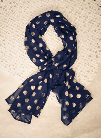 Foulard à pois pailletés, Bleu,  automne hiver 2021, fait au Canada, accessoires, écharpe, foulard, étole, foulard de soir, métallisé, métallique, pailleté, paillettes, pois, léger