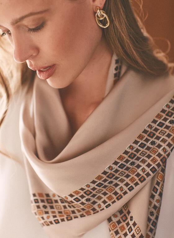 Foulard léger à motif mosaïque , Beige