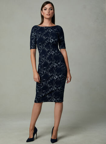 Maggy London - Robe fourreau à motif jacquard, Bleu, hi-res