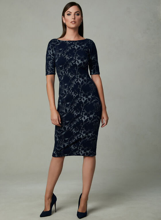 Maggy London - Floral Print Jacquard Sheath Dress, Blue, hi-res