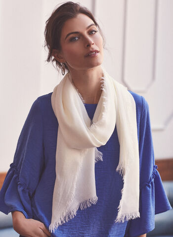 Fringe Edge Acrylic Scarf, Off White,  accessories, scarf, fringe, acrylic, spring summer 2021