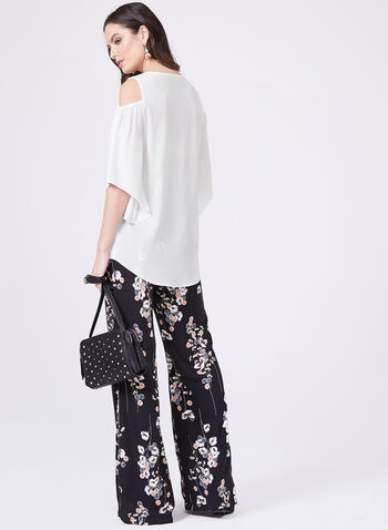 Cold Shoulder High-Low Crepe Top, Off White, hi-res