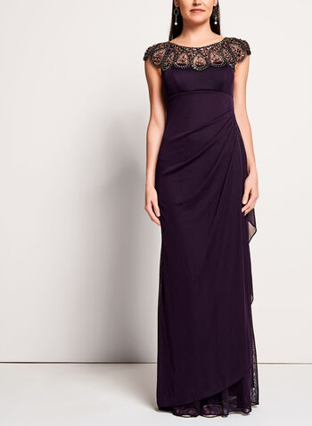 Beaded Neckline Mesh Gown, Purple, hi-res