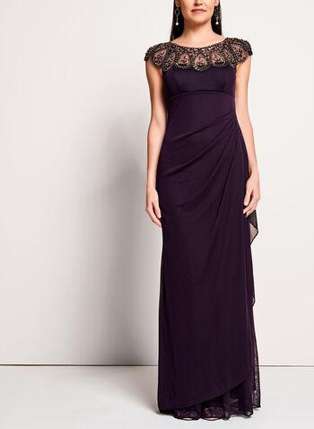 Robe de soirée drapée avec pierres brodées, Violet, hi-res