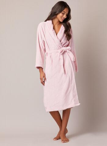 Peignoir texturé en peluche, Rose,  automne hiver 2020, peignoir, robe de chambre, pyjama