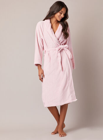 Ultrasoft Textured Plush Robe, Pink,  fall winter 2020, robe, loungewear, pyjama, fleece