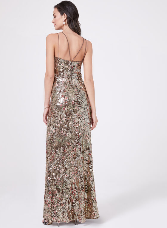 Cachet – Floral Embroidery Sequin Gown, Brown, hi-res