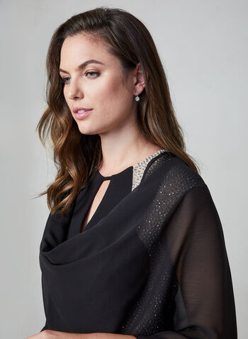 Lightweight Shawl Topper, Black,  shawl, lightweight, chiffon, fall 2019, winter 2019