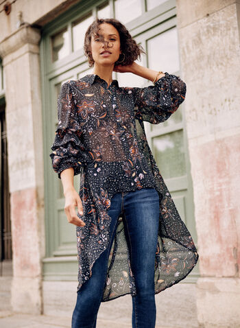 Floral Button Front Tunic, Black,  fall winter 2021, long, muslin, button up, button down, sleeves, asymmetrical, flowers, flowery,