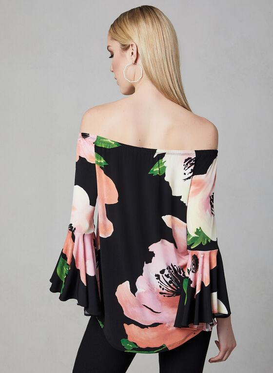 Frank Lyman - Haut fleuri à épaules dénudées, Noir, hi-res