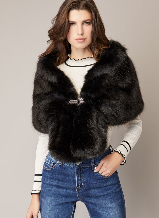 Faux Fur Stole, Black