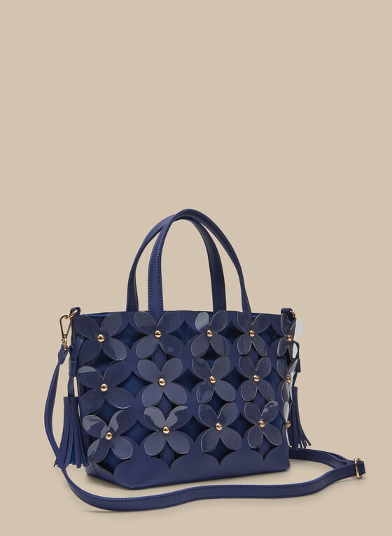 Flower Appliqué Tote , Blue