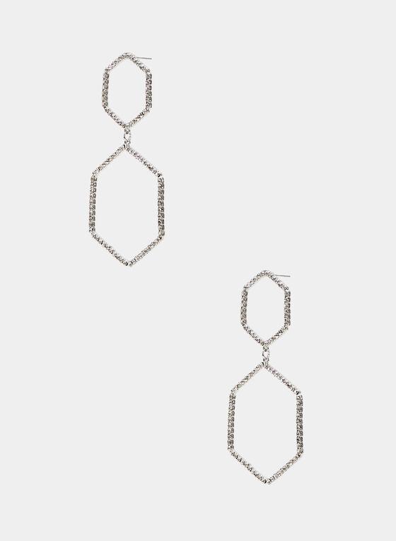 Boucles d'oreilles à pendants hexagonaux, Argent