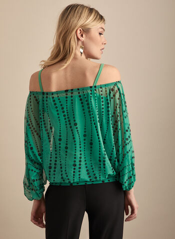 Mesh Off-the-Shoulder Top, Green,  top, balloon sleeves, polka dot, mesh, cami, jersey, off the shoulder, spring summer 2020