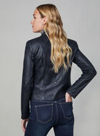 Vex - Blazer ouvert en faux cuir, Bleu, hi-res