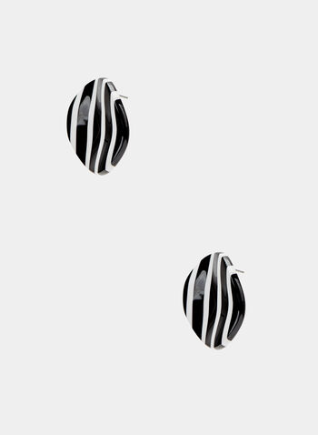 Disc Stud Earrings, Black, hi-res