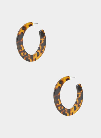 Boucles d'oreilles marbrées en lucite, Brun, hi-res
