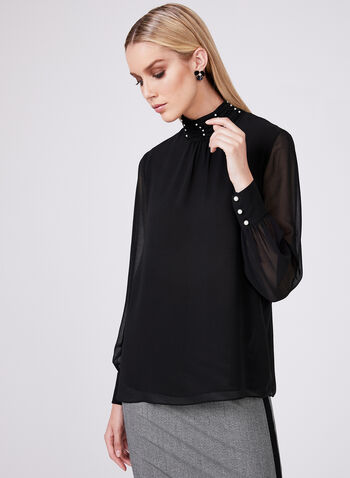 Pearl Detail Chiffon Blouse, Black, hi-res